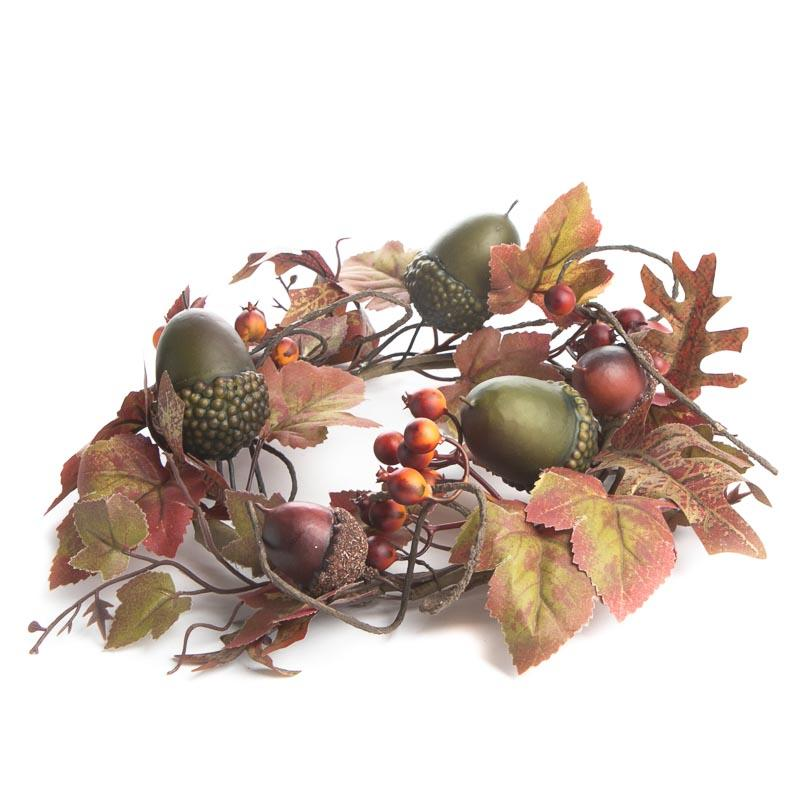 Fall Artificial Leaf And Acorn Candle Ring Candles And