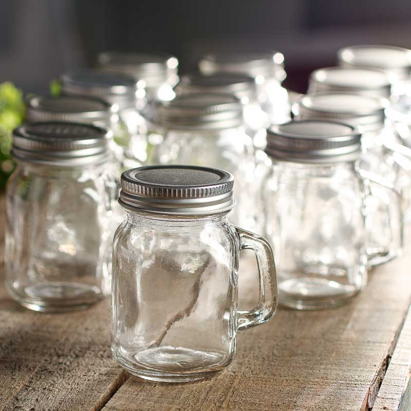 Small Clear Glass Mason Jar Mugs