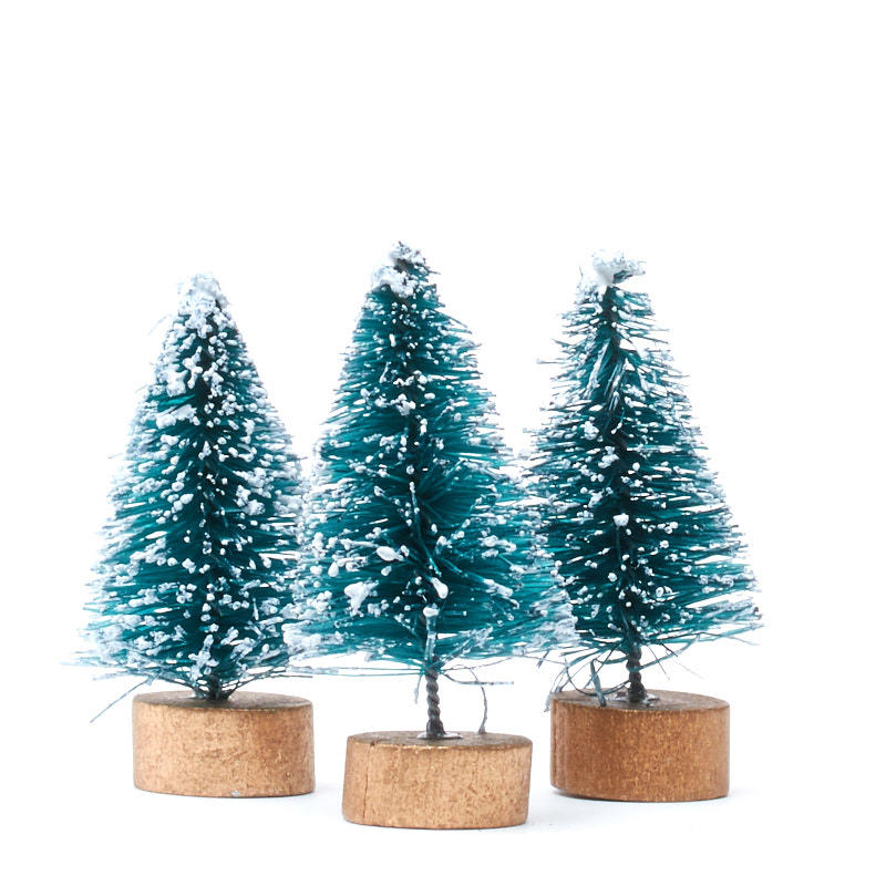 Miniature frosted blue green bottle brush trees for Miniature christmas trees for crafts