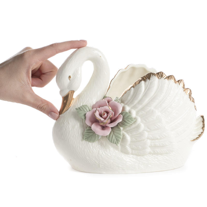 Vintage Inspired Ceramic Swan Vase Vase Bucket Tub Containers
