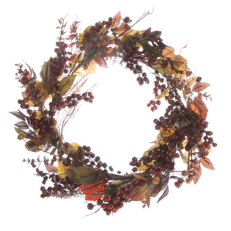 fall artificial leaf and berry wreath on sale holiday