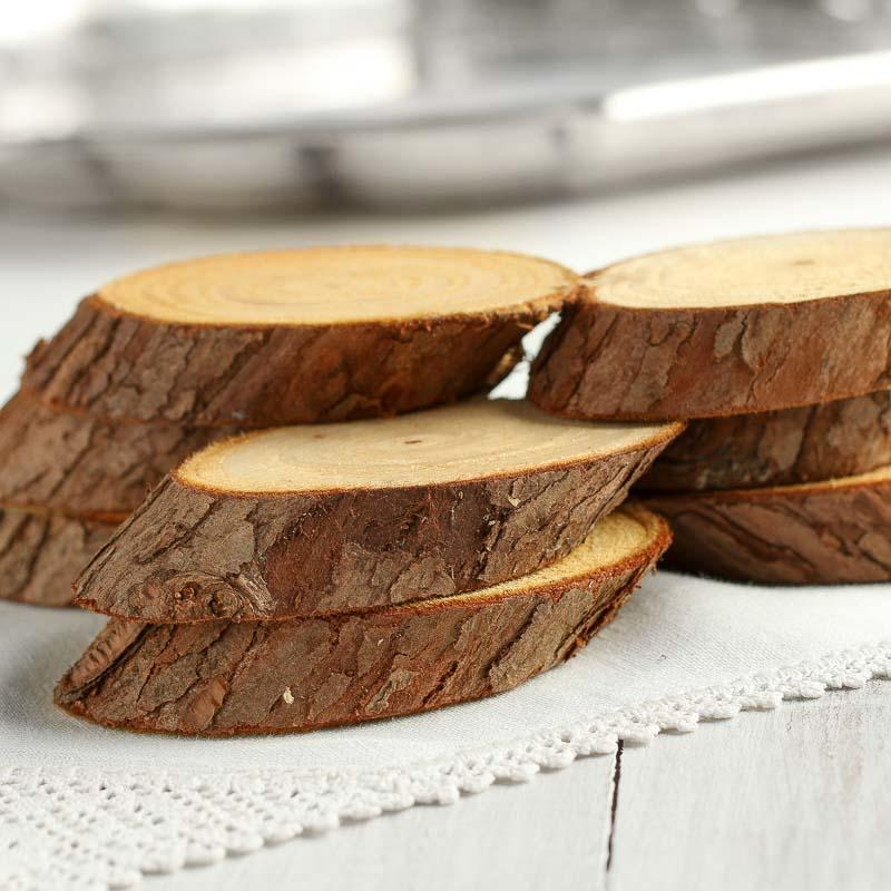 Small Oval Natural Birch Wood Slices Decorative Accents