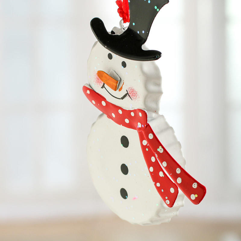 bottle cap snowman ornament