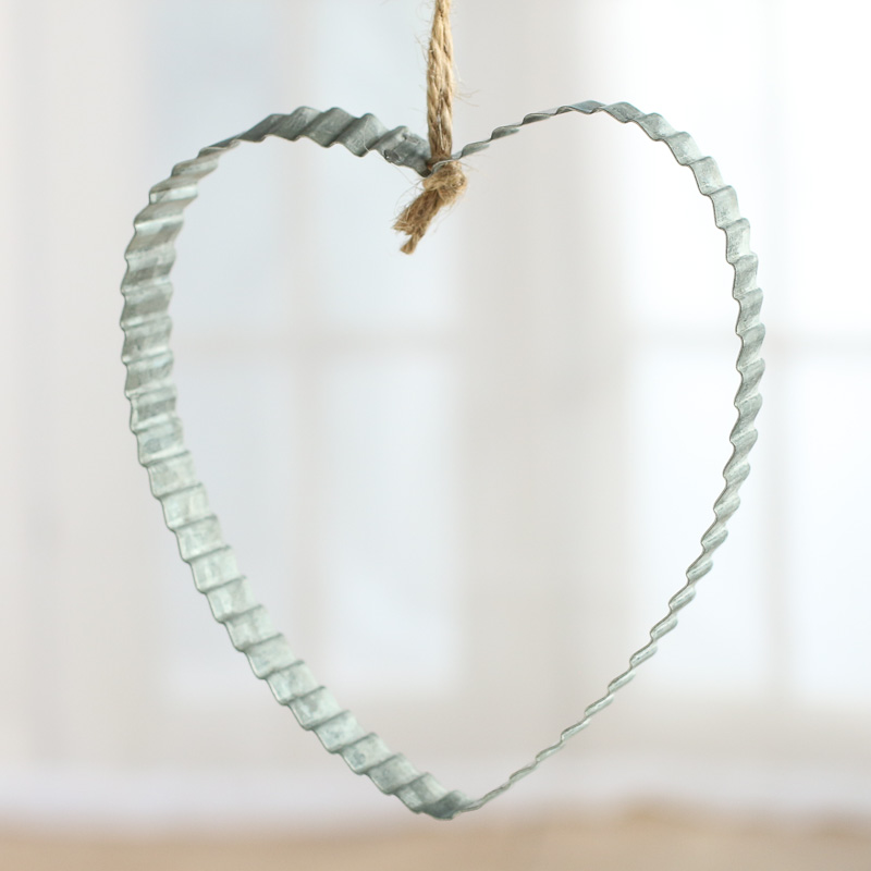 Galvanized metal heart ornament christmas ornaments