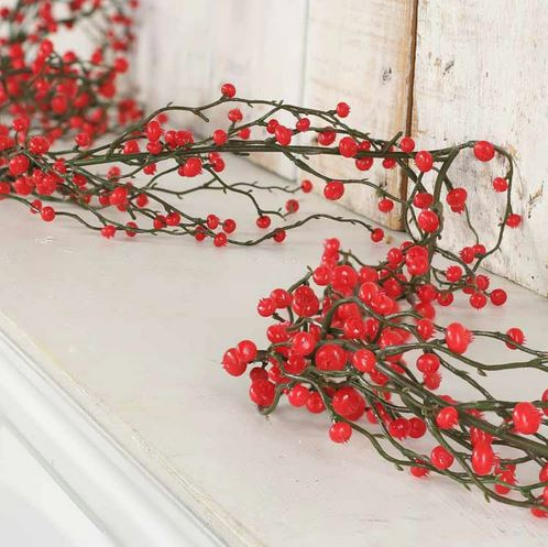 Red Artificial Berry Garland - Pip Berries - Primitive Decor