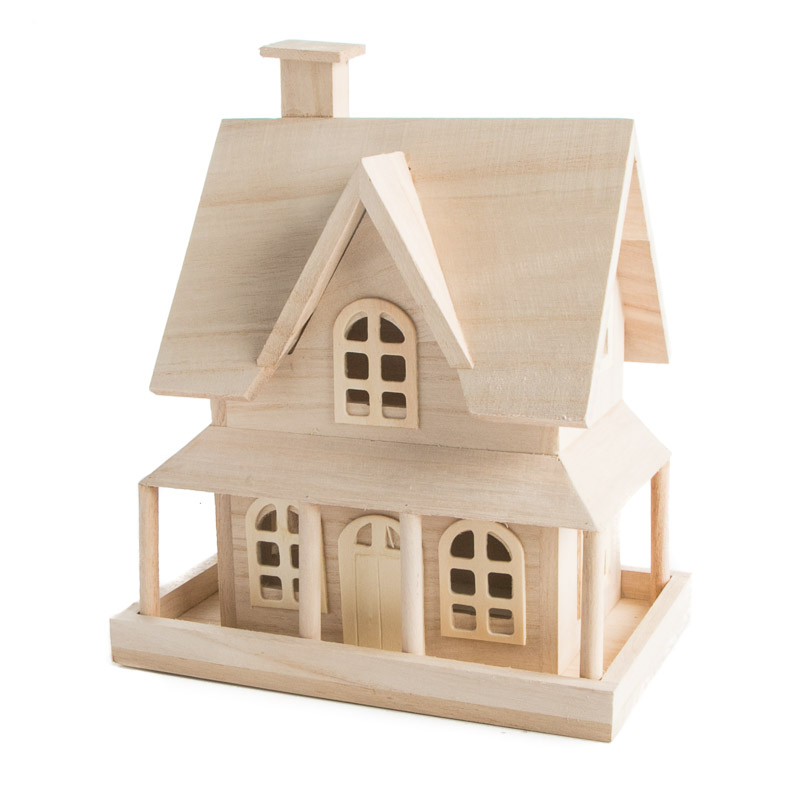 Unfinished Wood Country House Wood Craft Kits