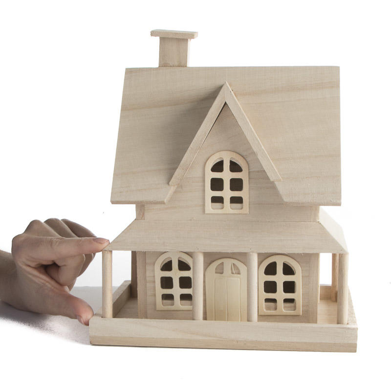 Unfinished wood country house wood craft kits for Country craft house