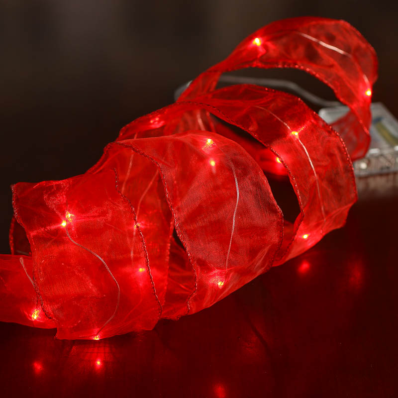 Red Organza LED Wired Ribbon Garland