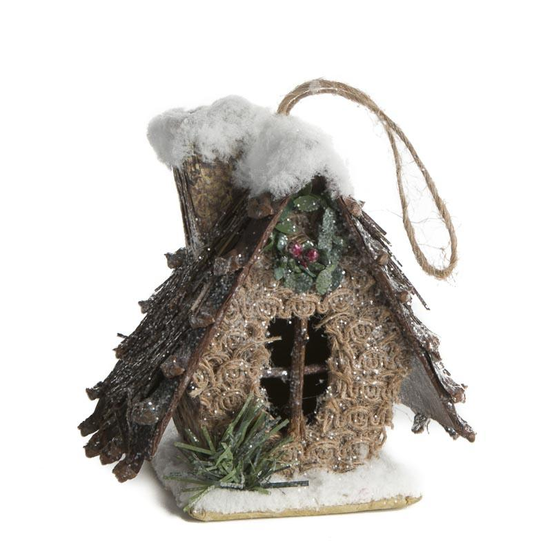 rustic christmas birdhouse ornament