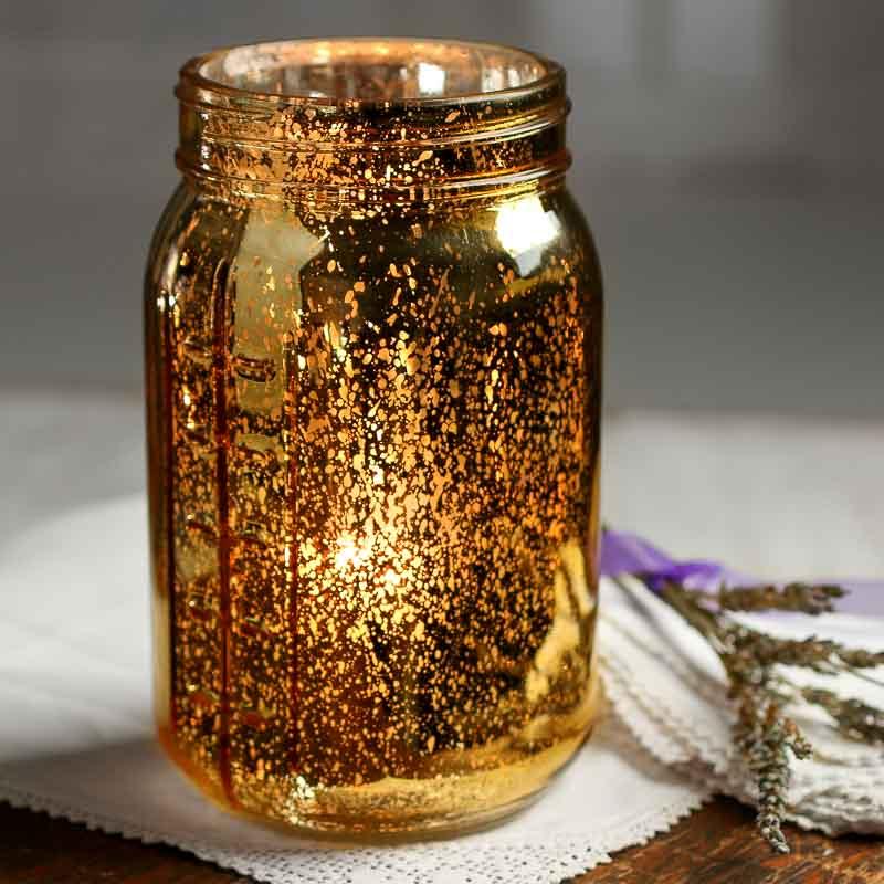 Large Gold Mercury Glass Mason Jar Soap And Lotion