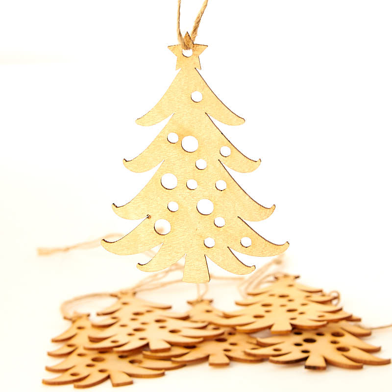 Unfinished wood laser cut christmas tree ornaments wood for Wooden christmas cutouts