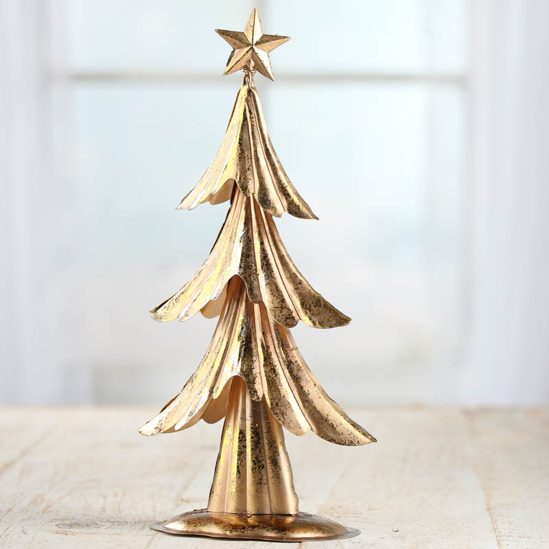 Gold Leaf Tin Christmas Tree