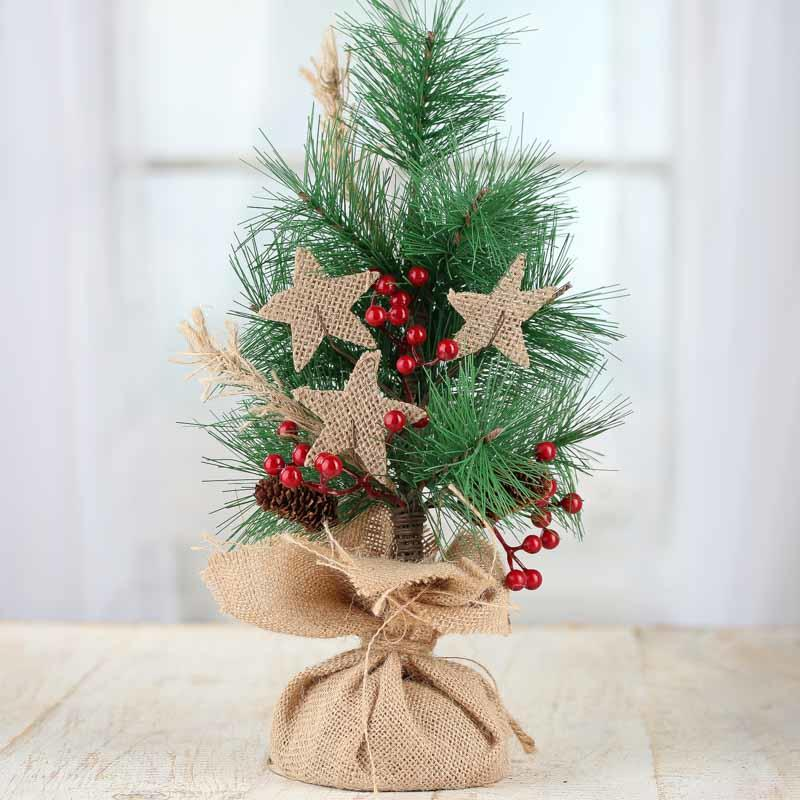 rustic artificial pine and burlap star tree trees and toppers christmas and winter holiday. Black Bedroom Furniture Sets. Home Design Ideas