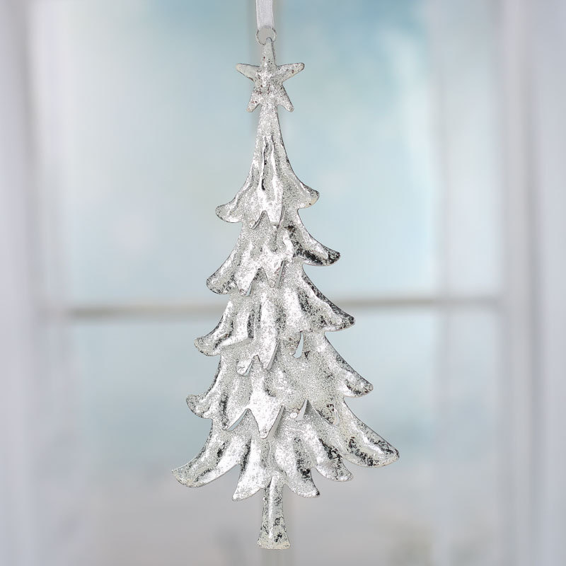 Sparkling Snowy Silver Tin Christmas Tree Ornament - Christmas ...