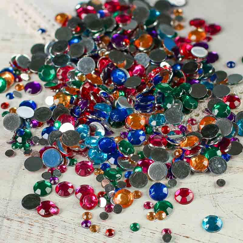 Assorted round flat back rhinestones scrapbooking for Rhinestone jewels for crafts