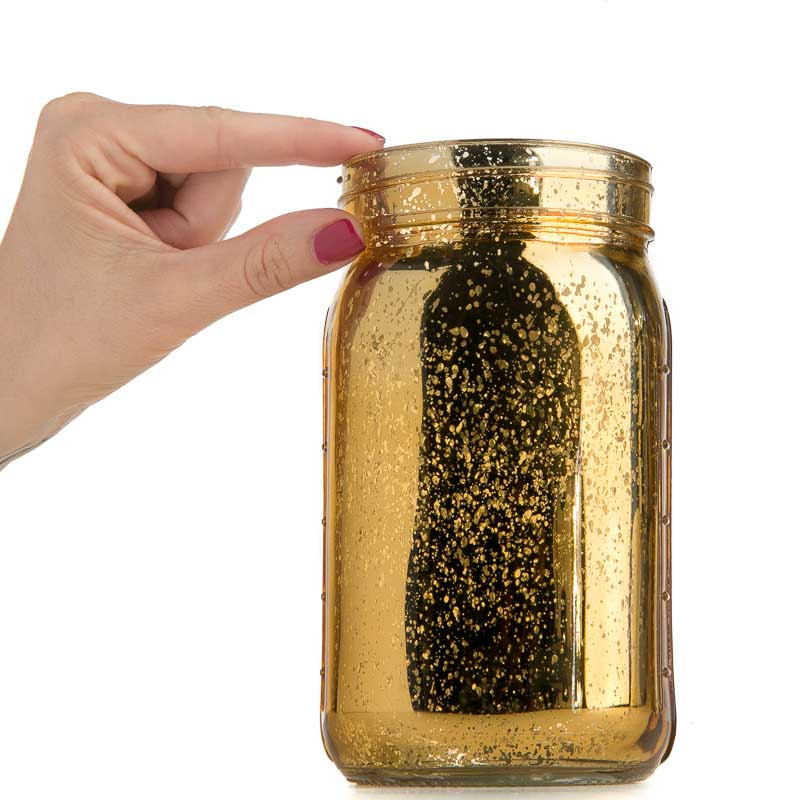 Large Gold Mercury Glass Mason Jar Soap And Lotion