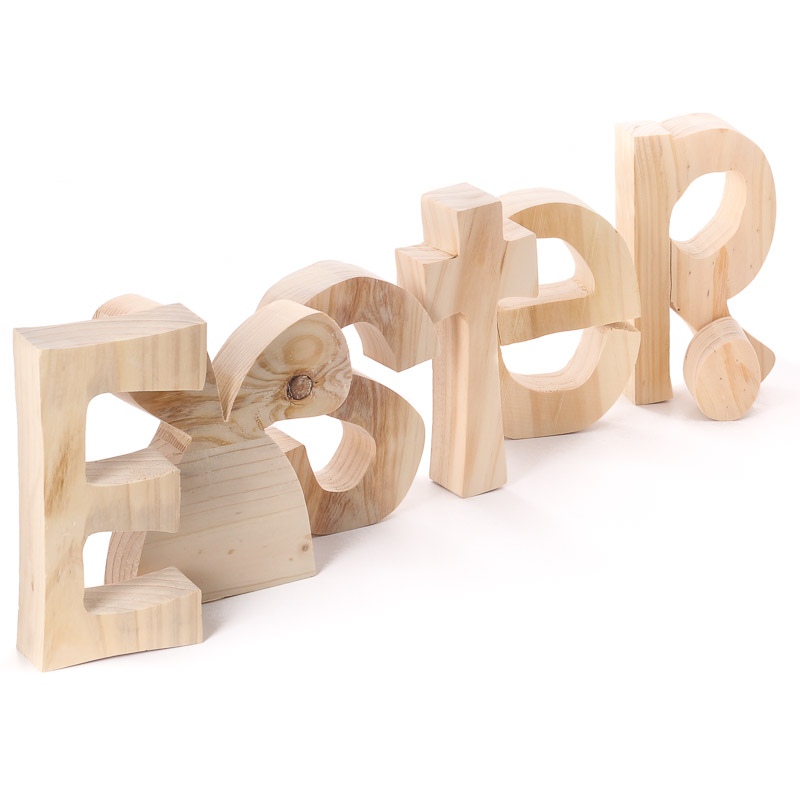 Large Unfinished Chunky Wood Standing Quot Easter Quot Letters