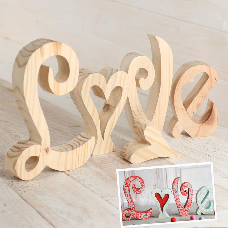 Large unfinished chunky wood standing love letters for Wooden letters for crafts