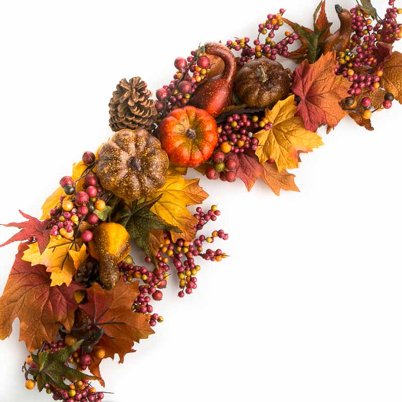 Fall Artificial Gourd And Leaf Swag Garlands Floral