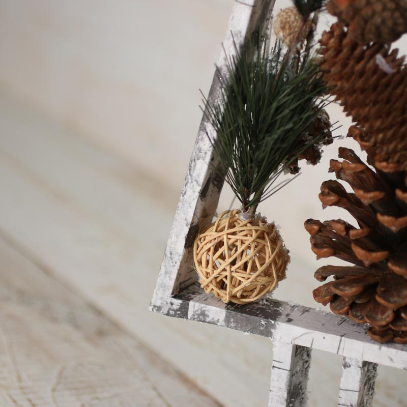 Snowy Rustic Faux Birch Wood Pine Tree Trees And Toppers