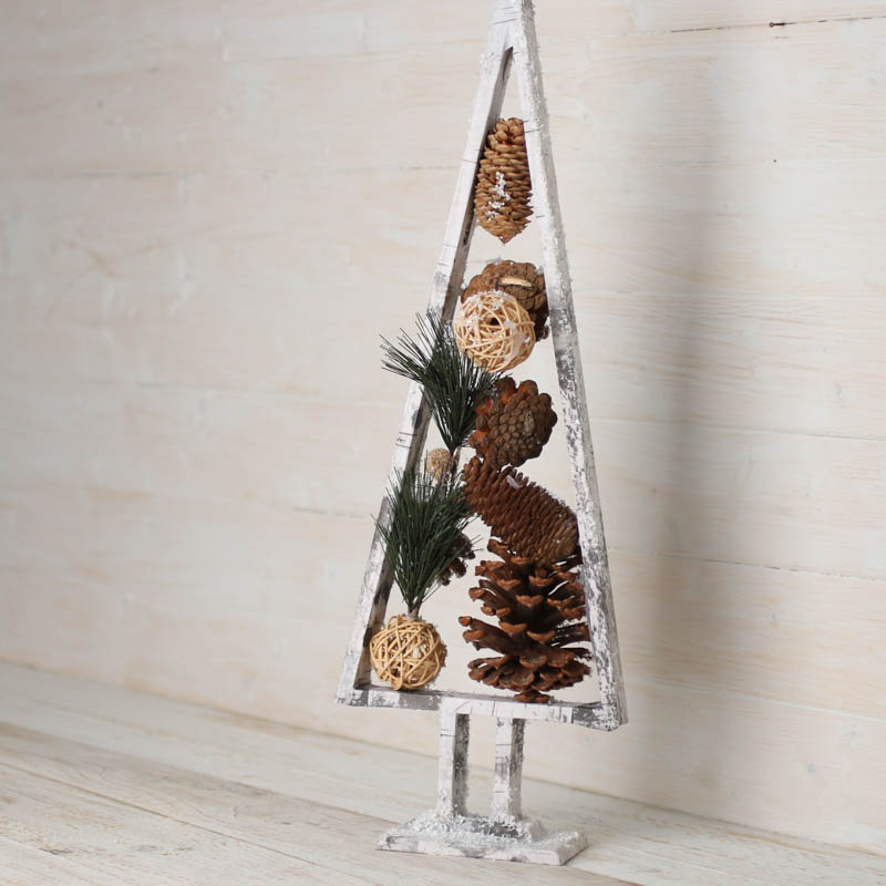 Snowy Rustic Faux Birch Wood Pine Tree - Christmas Trees and ...