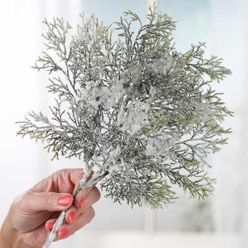 Sparkling Snowy Artificial Cedar Branch What 39 S New