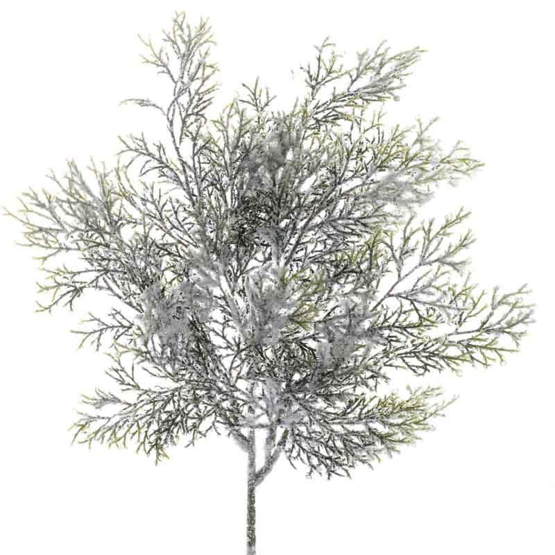 Sparkling Snowy Artificial Cedar Branch Picks And Stems