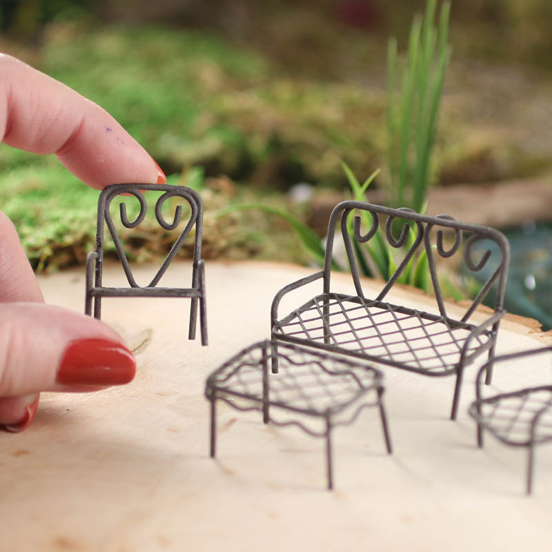 Miniature Vintage-Inspired Wire Table and Chairs Patio Set ...