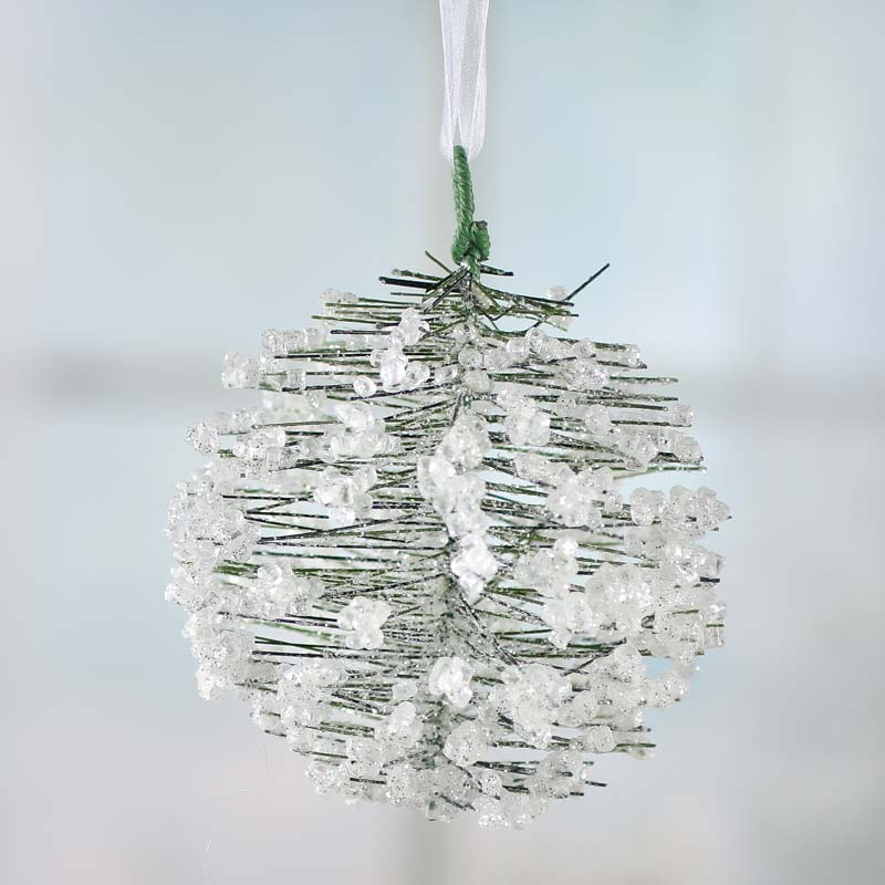 Icy Artificial Pine Kissing Ball - Christmas Ornaments - Christmas ...