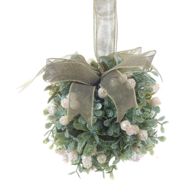 Sparkling Artificial Mistletoe Kissing Ball - Christmas Ornaments ...
