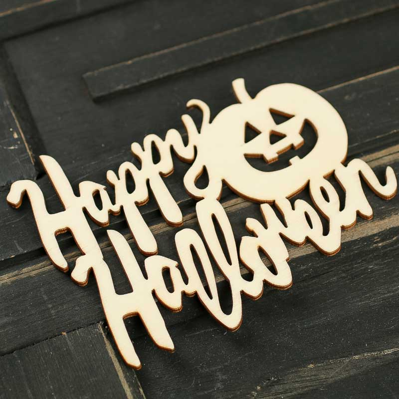 Unfinished Wood Laser Cut Quot Happy Halloween Quot Cutout Wood