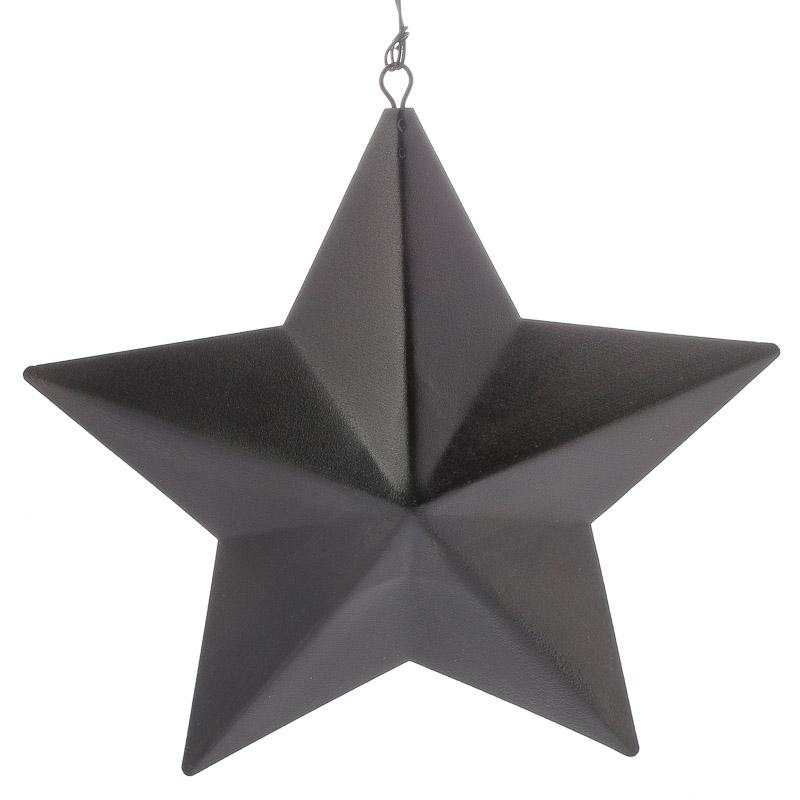 Textured Black Dimensional Barn Star Ornament Christmas