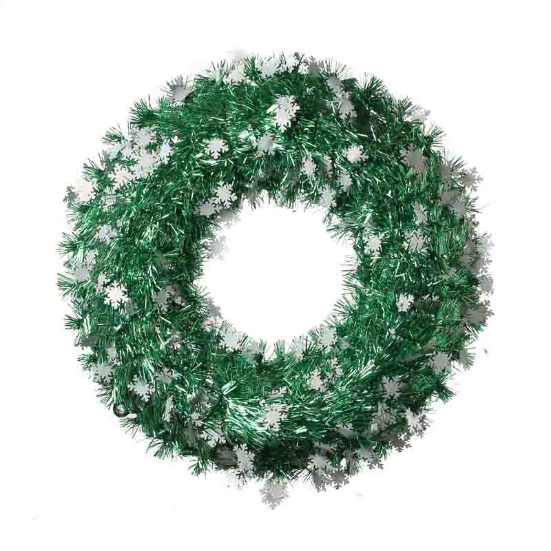 Green tinsel snowflake wreath wreaths floral supplies