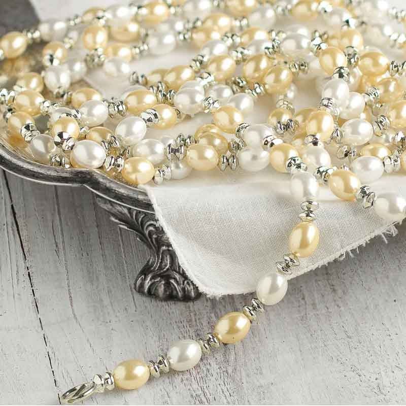 White Pearl Beads Strand Garland Acrylic Wedding Pearl: White And Ivory Pearl And Silver Gem Bead Garland