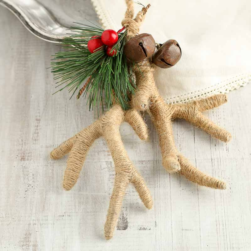 Rustic Natural Jute Antlers Ornament - Christmas Ornaments ...