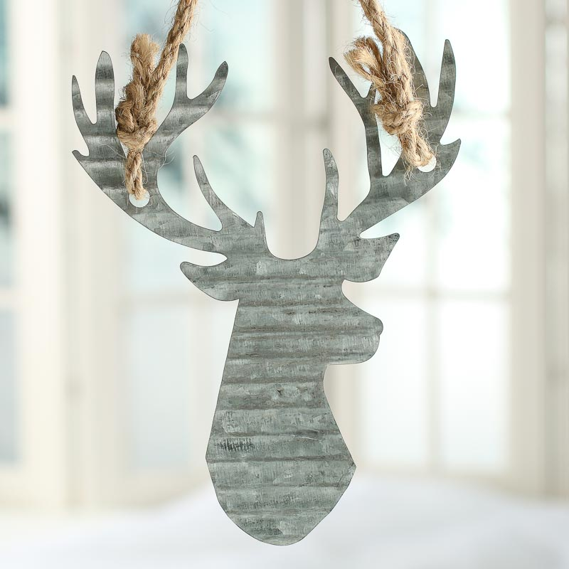 Corrugated galvanized metal reindeer ornament rusty tin