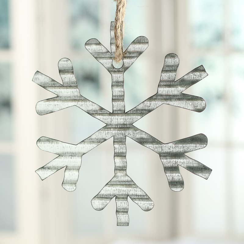 Corrugated galvanized metal snowflake ornament christmas