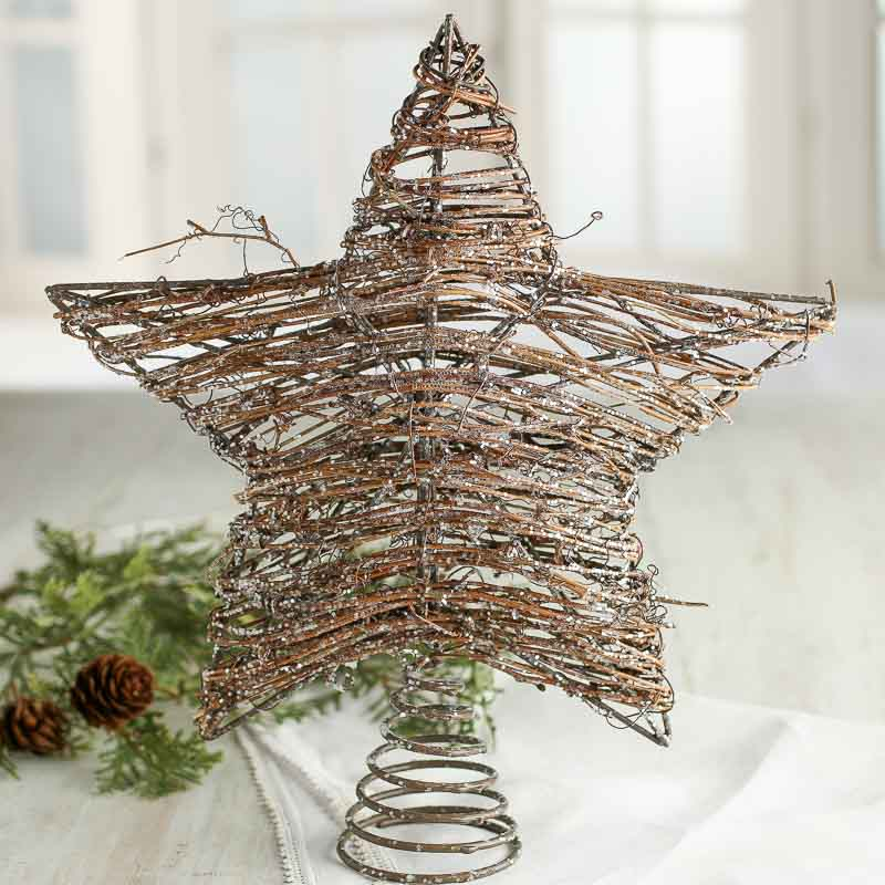 Vintage grapevine star tree topper with or without lights |Grapevine Angel Tree Topper