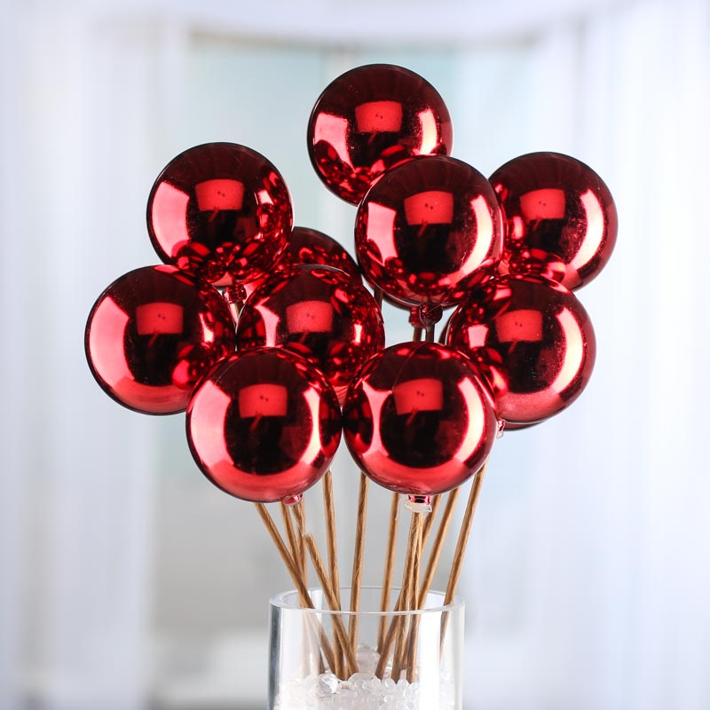 red christmas ornament picks - picks and stems
