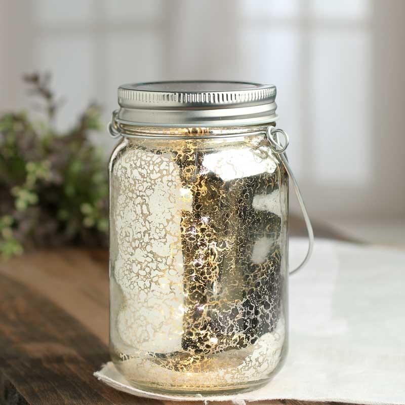 Silver Mercury Glass Led Mason Jar Lantern Table Decor