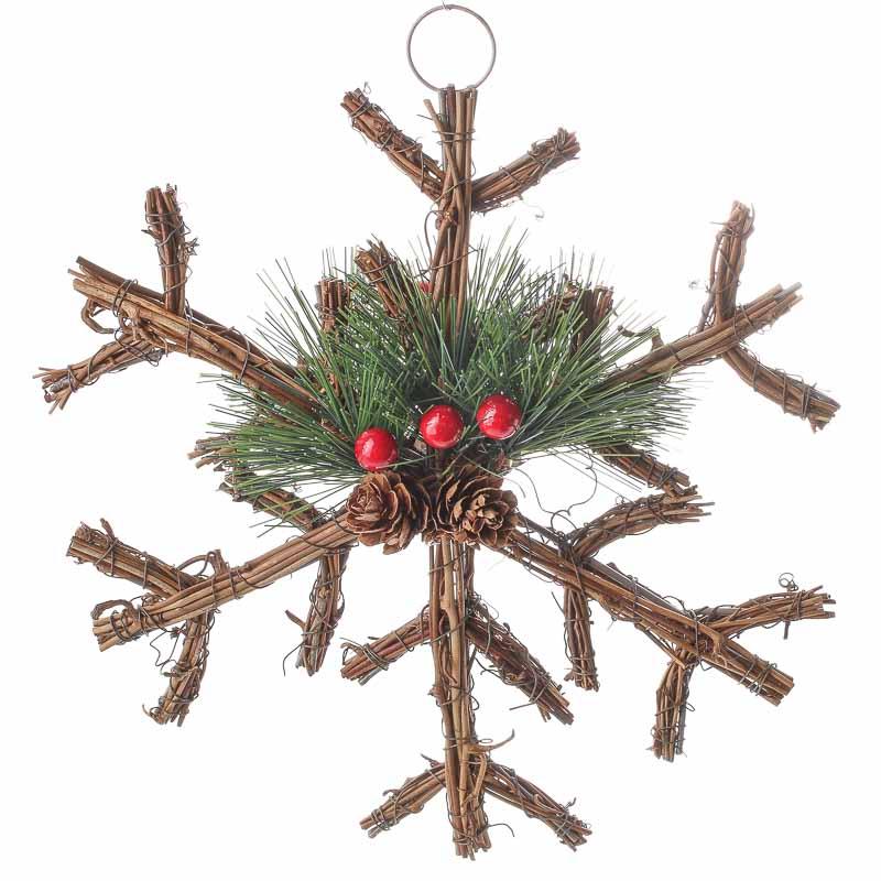 Woodland Twig and Pine Snowflake Ornament - Christmas ...