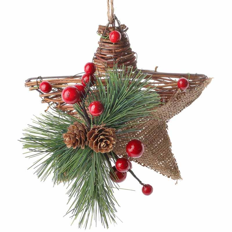 Rustic burlap and grapevine star ornament christmas for Holiday christmas ornaments