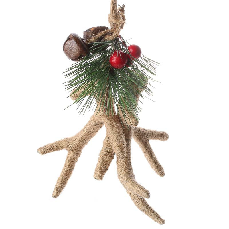 Rustic Natural Jute Antlers Ornament Christmas Ornaments