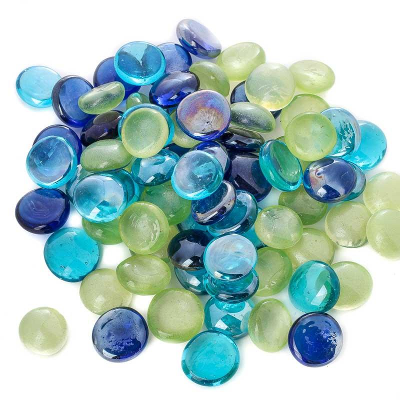 blue and green glass gems new items