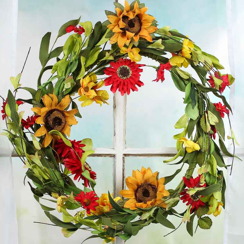 Golden Yellow And Red Sunflower And Daisy Wreath Wreaths