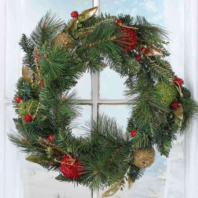 Sparkling artificial pine and tinsel fruit wreath for Craft wreaths for sale