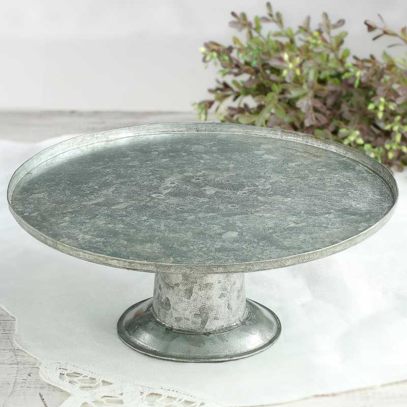 Small Galvanized Metal Cake Stand Kitchen Utensils