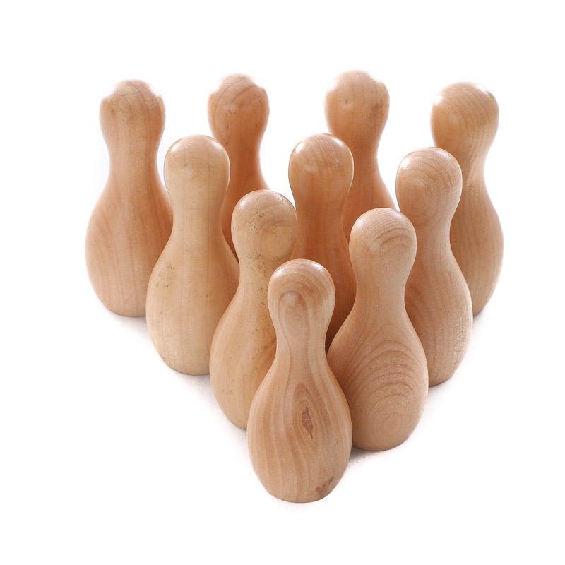 Small Varnished Wood Bowling Pins