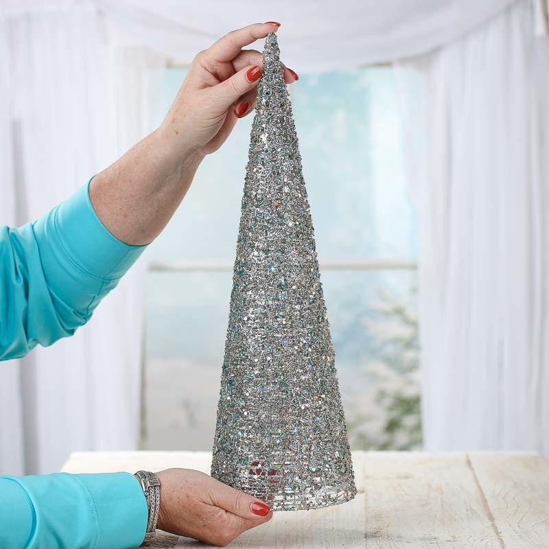 Silver Sparkling Mesh Beaded Cone Tree Trees And Toppers