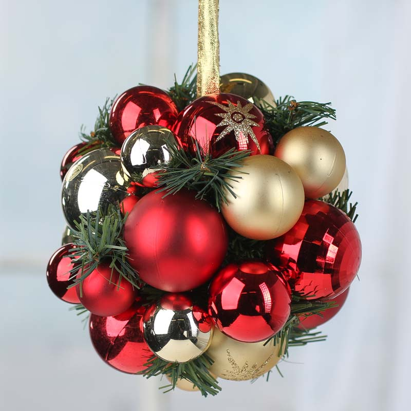 Gold and Red Christmas Ornament and Artificial Pine Kissing Ball ...